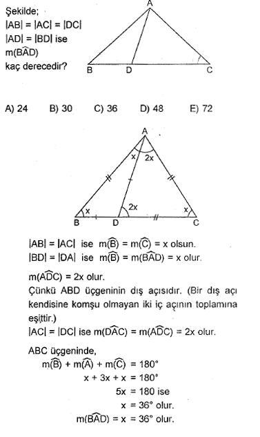 çözümlü üçgen sorusu