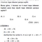 öss ygs 1.dereceden denklemlerle ilgili çözümlü sorular