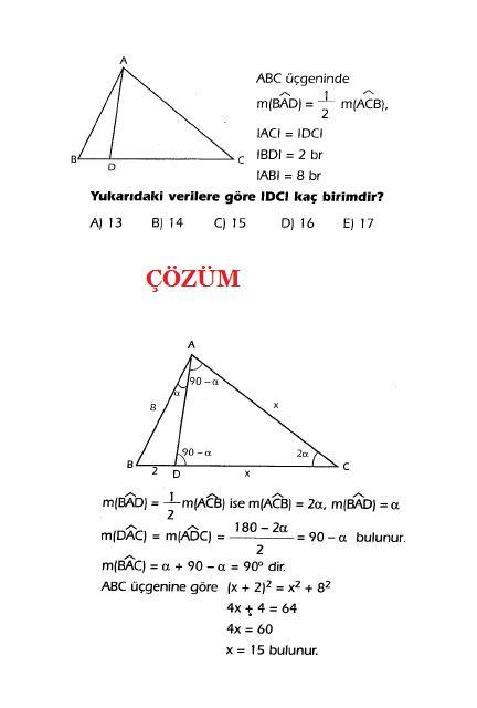 özel üçgen soru ve çözümleri