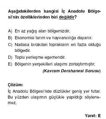 İç Anadolu Bölgesi nin özellikleri ile ilgili çözümlü sorular