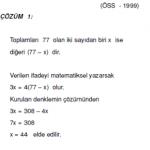 1.dereceden denklemlerle ilgili çözümlü sorular ygs kpss