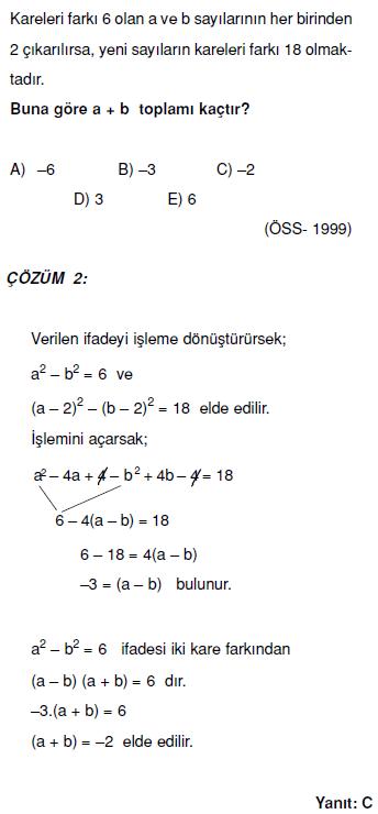 1.dereceden denklemlerle ilgili çözümlü sorular ygs kpss sbs