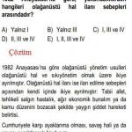 1982 Anayasası Olağanüstü Hal İlanı Sebebi İle ilgili Çözümlü Sorular KPSS