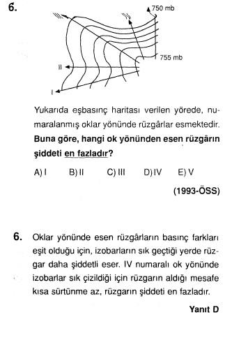 1993 ÖSSde Çıkmış Basınç Rüzgarlar ve Rüzgar Hızı İle İlgili Çözümlü Soru