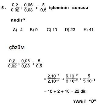 2011 matematik ygs rasyonel sayılarla ilgili çıkmış sorular ve çözümleri