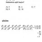 2011 sbs üslü sayılarla ilgili çıkmış sorular ve çözümlü testleri