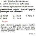 Atatürk'ün Sağlığında Görülen Gelişmelerle İlgili Çözümlü Sorular KPSS