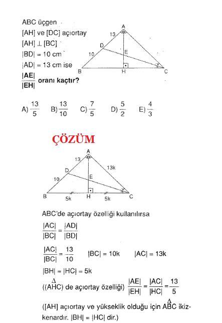 Ygs çözümlü açıortay soru ve çözümü
