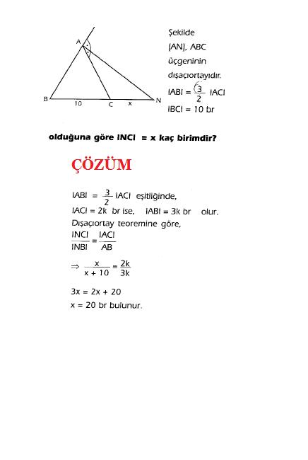 geometri açıortay soru ve çözümleri
