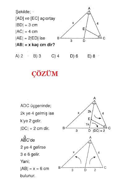 Geometri ve açıortay soru ve çözümleri