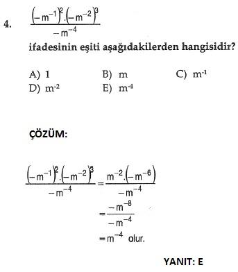 matematik üslü sayılarla ilgili çıkmış sorular ve çözümleri sbs
