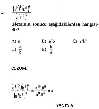 matematik üslü sayılarla ilgili çıkmış sorular ve çözümleri ygs