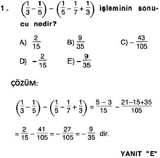 rasyonel sayılarla ilgili 2010 ygs çözümlü soru ve cevapları