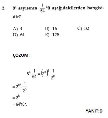 sbs matematik üslü sayılarla ilgili çözümlü sorular
