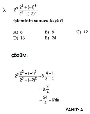ygs matematik üslü sayılarla ilgili çözümlü sorular