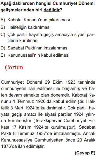 Cumhuriyet Dönemi Gelişmelerle İlgili Çözümlü Sorular KPSS