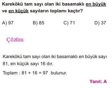 Kareköklü Sayılar İle İlgili Çözümlü Sorular SBS