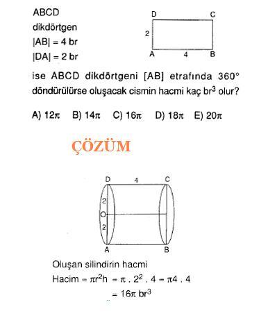 Lys sınavlarına hazırlık geometri katı cisim silindir soruları