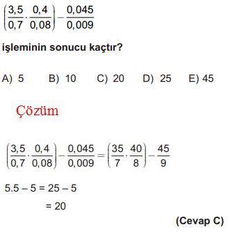 Ondalık Sayılar İle İlgili Çözümlü Sorular KPSS