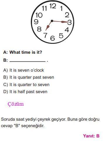 Saat Kavramı İle İlgili Çözümlü Sorular SBS