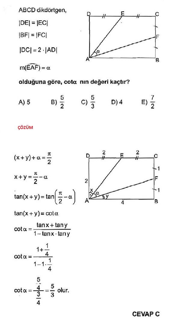 cosinüs açı değeri soruları