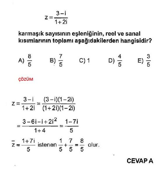 karmaşık sayıların eşleniği soruları