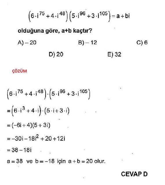 karmaşık sayılarda çözümlü dört işlem soruları