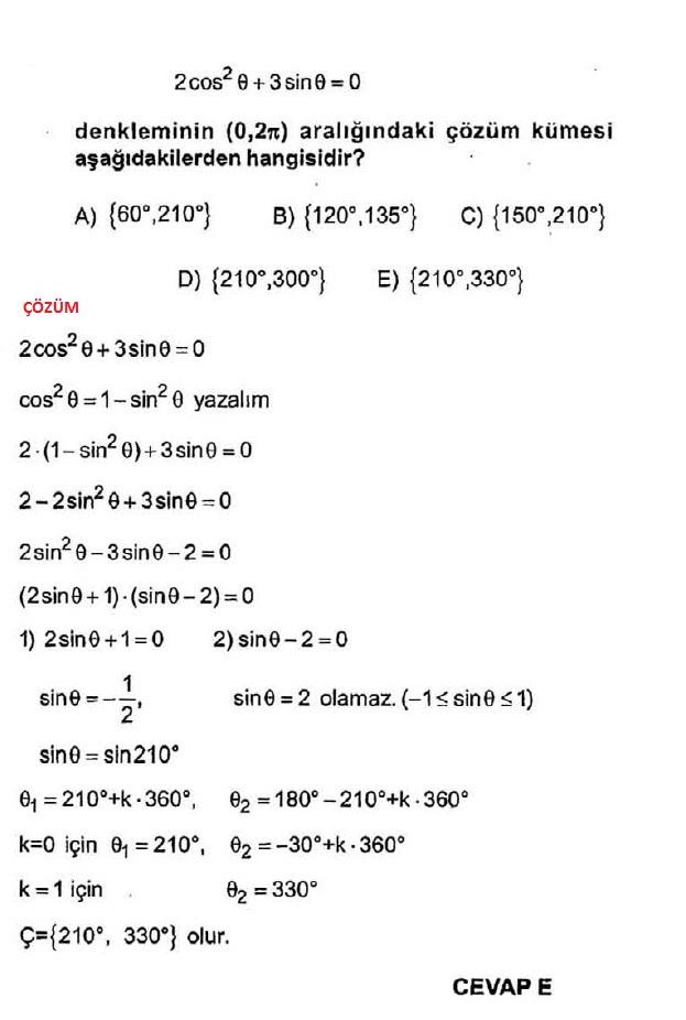 Kosinüs denklemi soruları