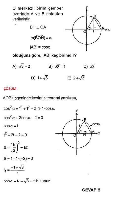 kosinüs teoremi çözümlü sorular