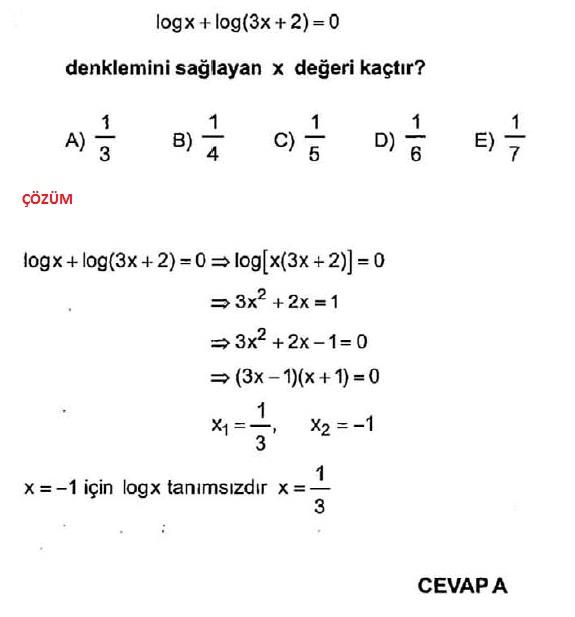 Logaritma denklemli testler