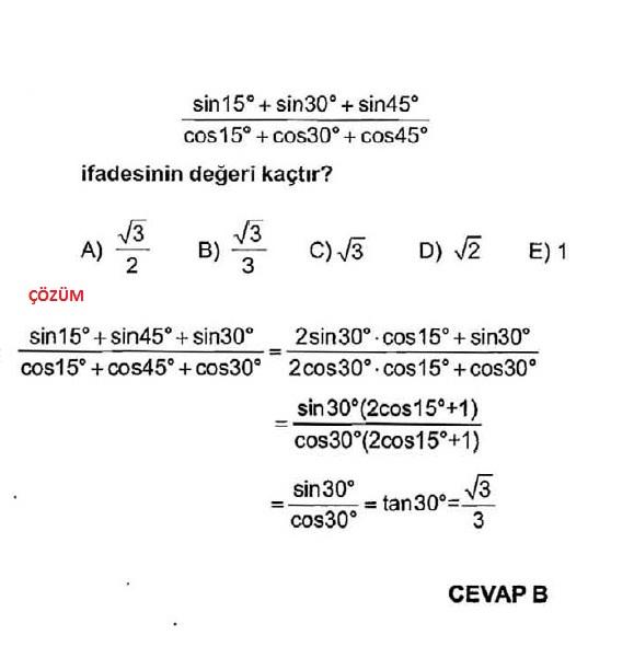 Sbs trigonometri soruları
