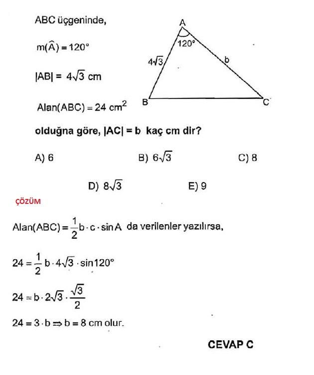 sinüs üçgen hesaplamaları