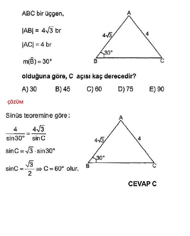 sinüs teoremi çözümlü sorular