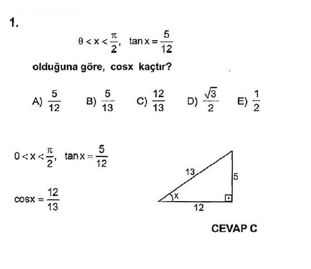 Trigonometri çözümlü test soruları 1