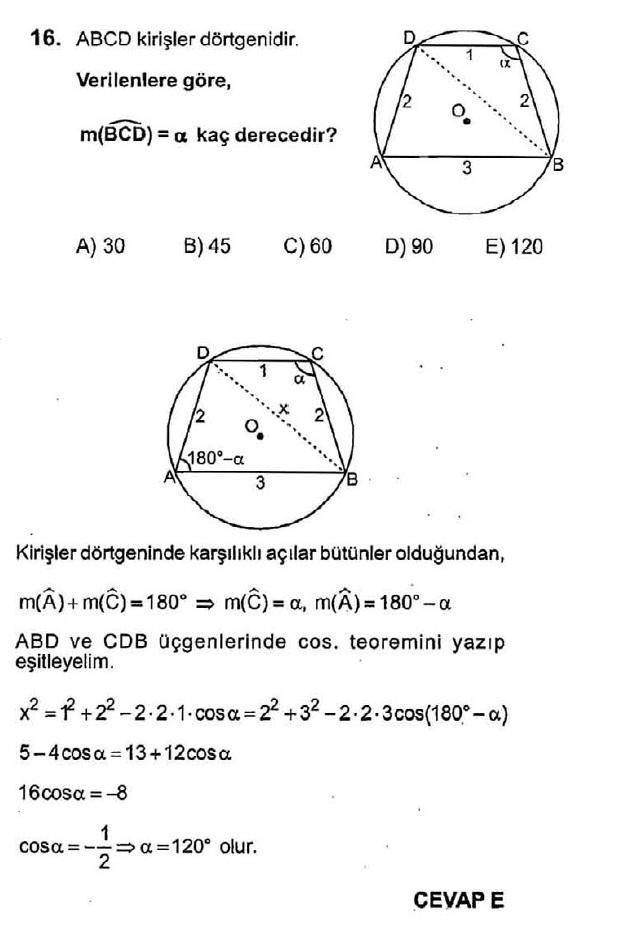 Trigonometri çözümlü test soruları 16