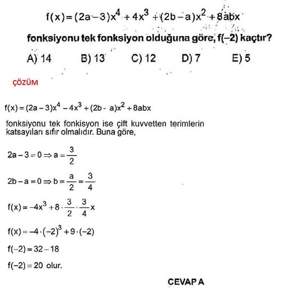 Fonksiyonlar dört işlem soruları