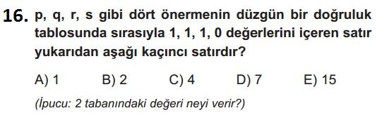 mantık test 16